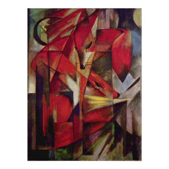 Foxes by Franz Marc, Vintage Abstract Cubism Art