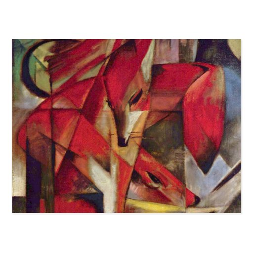 Foxes by Franz Marc, Vintage Abstract Cubism Postcards