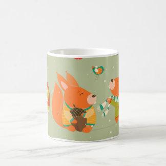 foxes christmas coffee mug
