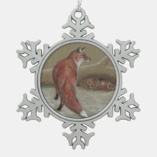 foxes Christmas snowflake ornament