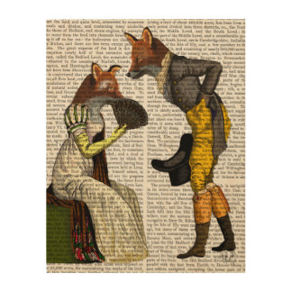 Foxes Courting Wood Print