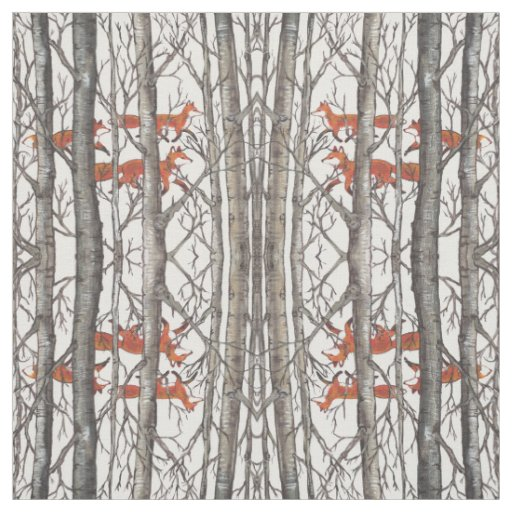 Foxes in Winter Woods Grey Designer Fabric Art