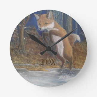 Foxes! Jumping Fox Wall Clock. Western Red Fox. Round Clock