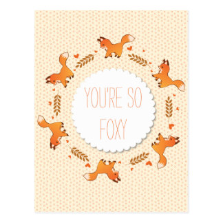 Foxes, Laurel and Hearts Wreath Foxy Postcard