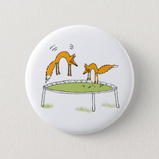 Foxes on Trampoline 6 Cm Round Badge