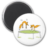 Foxes on Trampoline 6 Cm Round Magnet