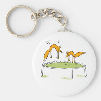 Foxes on Trampoline Basic Round Button Key Ring