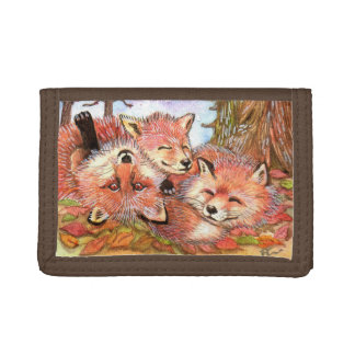 Foxes Play Time Tri-fold Wallets