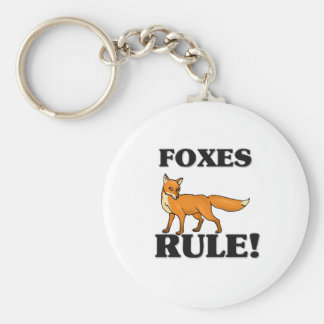 FOXES Rule! Basic Round Button Key Ring