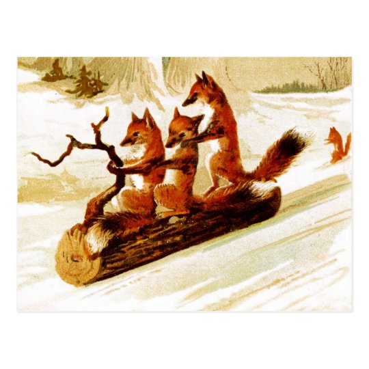 Foxes Sledding through the Snow on a Log
