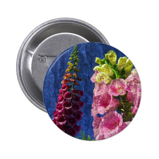 Foxglove flowers on texture with frame 6 cm round badge