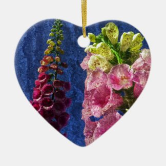 Foxglove flowers on texture with frame ceramic heart decoration