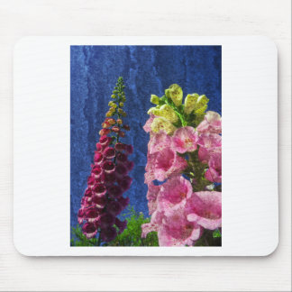 Foxglove flowers on texture with frame mouse pad