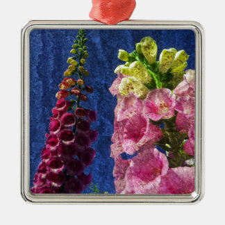 Foxglove flowers on texture with frame Silver-Colored square decoration