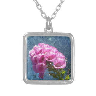 Foxglove with texture reaching for the sky. square pendant necklace