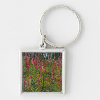 Foxgloves, c.1916 (oil on canvas) Silver-Colored square key ring