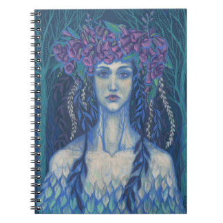 Foxgloves dryad beautiful girl surreal fantasy art spiral note book