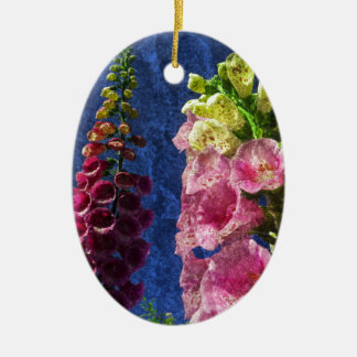 Foxgloves on texture ceramic oval decoration