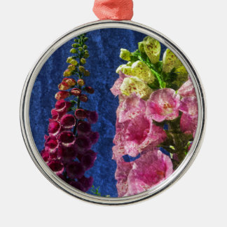 Foxgloves on texture Silver-Colored round decoration