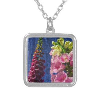 Foxgloves on texture square pendant necklace