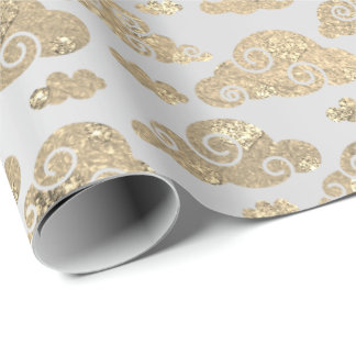Foxier Gold Glitter Clouds Steel Metallic Silver Wrapping Paper