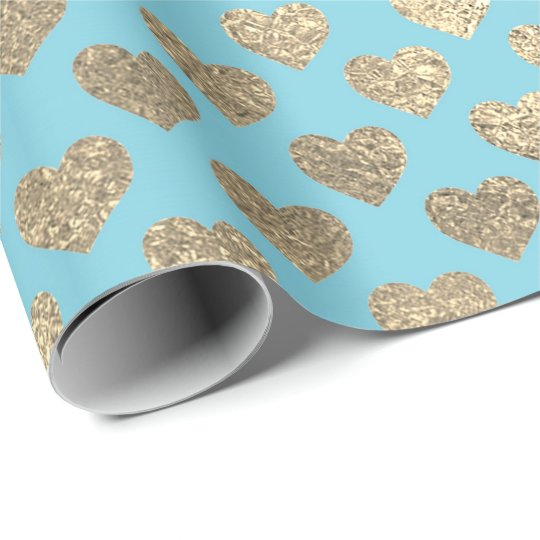 Foxier Gold Glitter Metallic Tiffany Blue Hearts Wrapping