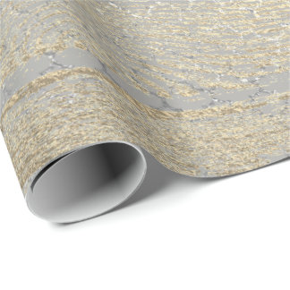Foxier Gold Gray Wood Shabby Quatrefoil Silver Wrapping Paper