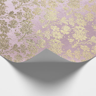 Foxier Gold Pink Rose Ivory Powder Blush Floral Wrapping Paper