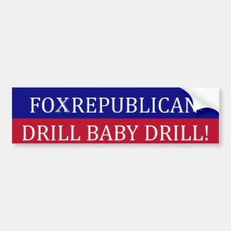 Foxrepublican bumper sticker - drill baby drill car bumper sticker