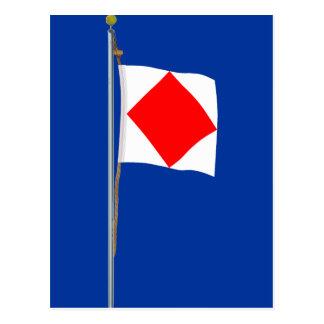 Foxtrot  I am disabled  Nautical Signal Flag Postcard