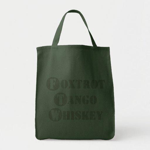 Foxtrot Tango Whiskey Canvas Bags