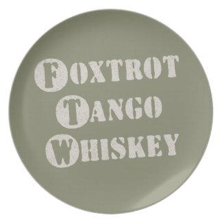 Foxtrot Tango Whiskey Dinner Plate