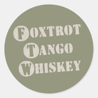 Foxtrot Tango Whiskey Round Stickers