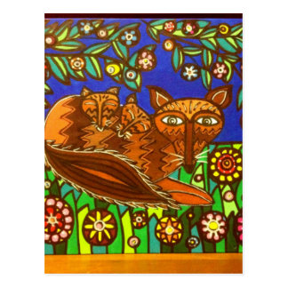 Foxy and her cubs post card