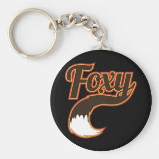Foxy Basic Round Button Key Ring