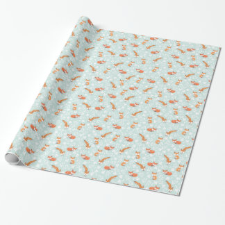 Foxy Floral by Origami Prints Wrapping Paper