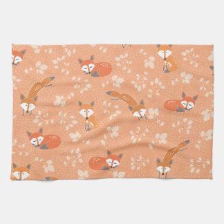 Foxy Floral Pattern Tea Towel