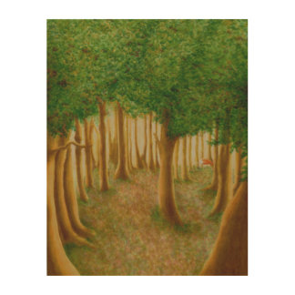 Foxy Forest Wood Wall Art Wood Canvas