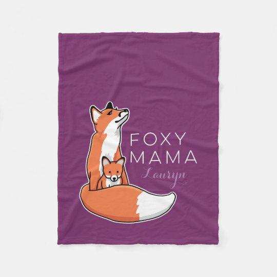 Foxy Fox Mama with Baby, Personalised Fleece Blanket