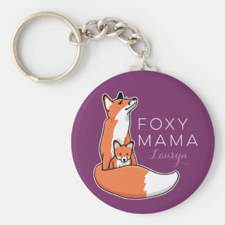 Foxy Fox Mama with Baby, Personalized Key Ring