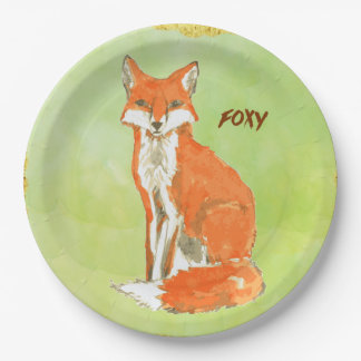 Foxy Ginger Fox Watercolor Paper Plate