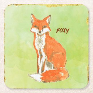 Foxy Ginger Fox Watercolor Square Paper Coaster