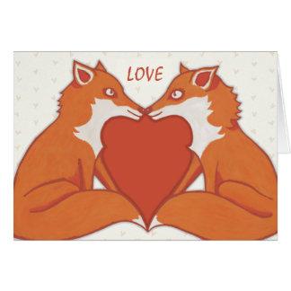 Foxy Love brown Valentine's Note Card