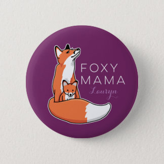 Foxy Mama Red Fox with Pup, Personalized 6 Cm Round Badge