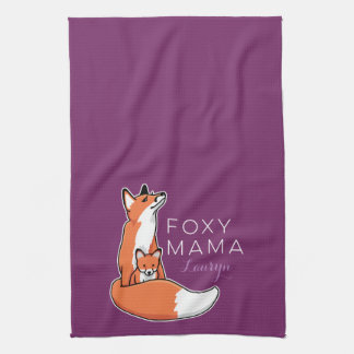 Foxy Mama Red Fox with Pup, Personalized Tea Towel