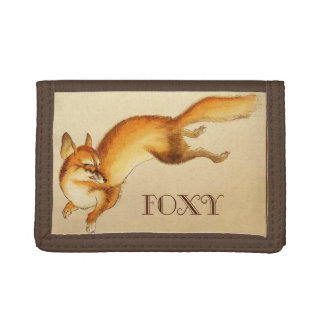 """Foxy"" - Vintage Japanese sketch of a fox Trifold Wallet"