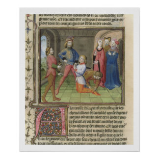 Fr.120 f.522v The Knighting of Lancelot from 'The Poster
