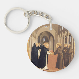 Fra Angelico-Meeting of Sts. Dominic & Francis Single-Sided Round Acrylic Key Ring