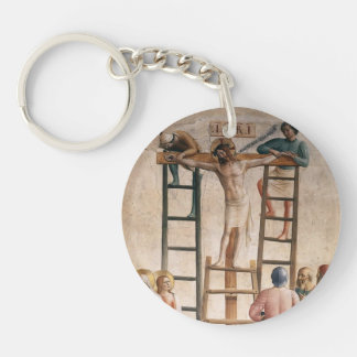 Fra Angelico- Nailing of Christ to the Cross Single-Sided Round Acrylic Key Ring