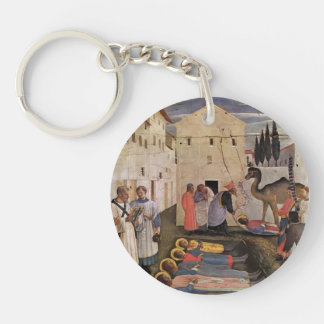 Fra Angelico- Sepulchring of St Cosmas & St Damian Single-Sided Round Acrylic Key Ring